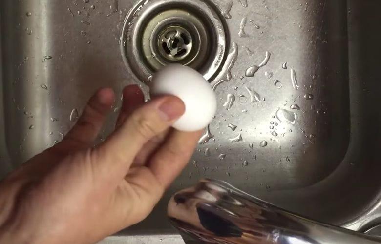peeling an egg